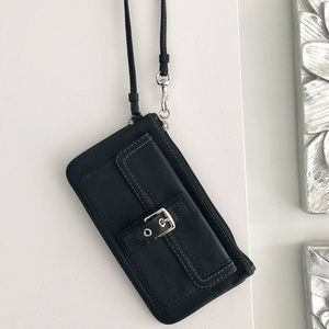 COACH Black Leather Buckle Wristlet